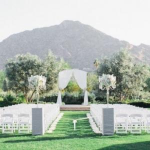 Outdoor Ceremony Classic Blush Arizona Wedding