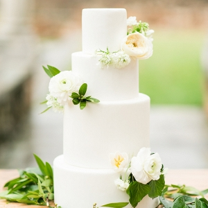 Three Tier All White Wedding Cake