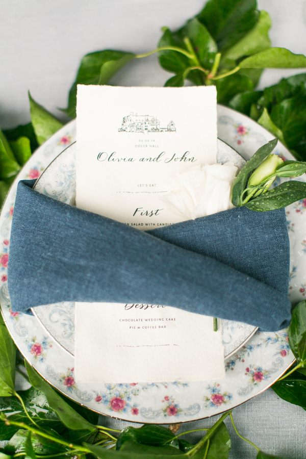 Vintage Country Place Setting with Blue Napkin