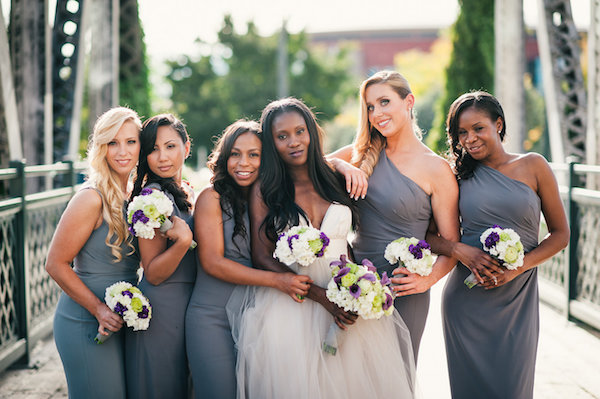 gray bridesmaids in elegant downtown Denver wedding from Aisle Perfect
