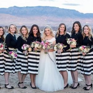 Stripe bridesmaid skirts on Aisle Perfect