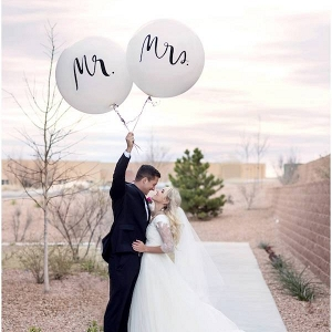 Mr and Mrs balloons on Aisle Perfect