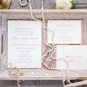 Elegant script wedding invitation on Aisle Perfect