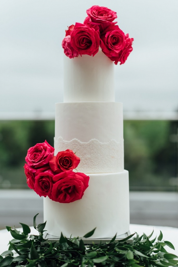Three Tier White Wedding Cake-with Pink Flowers