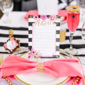 Black and White Striped Menu at Pancakes and Mimosas Bridal Shower