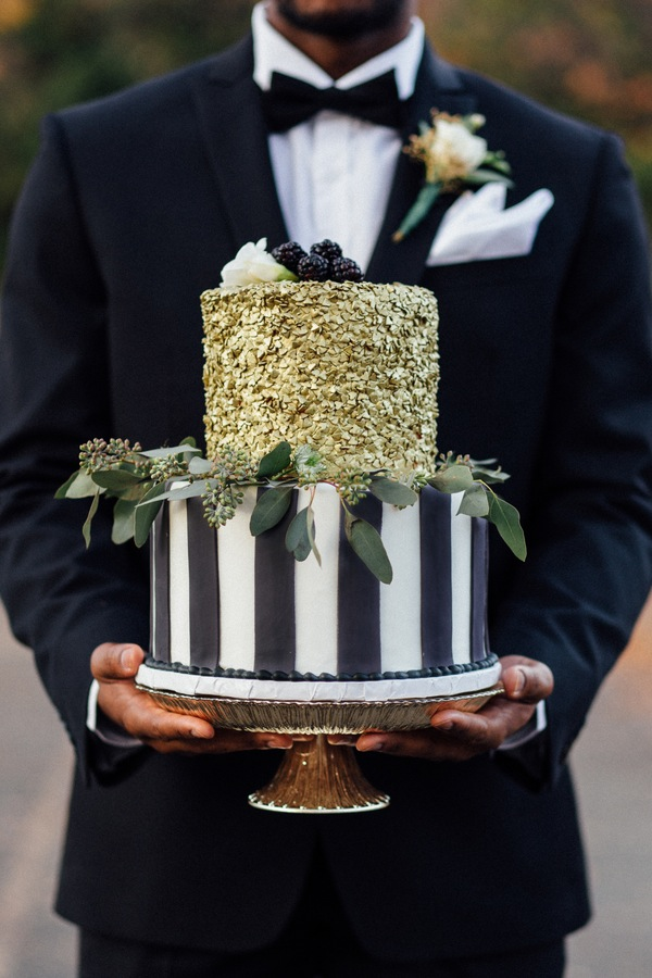 Black White and Gold Two Tier Cake
