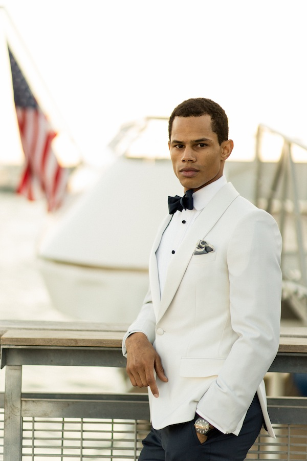 Nautical Groom Wearing White Tuxedo