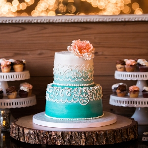Tiffany Blue Ombre Wedding Cake