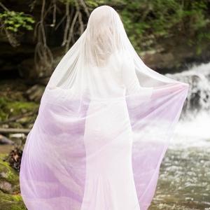 Bride with Lavender Ombre Veil