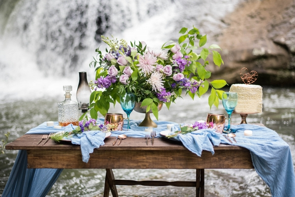 Intimate Tablescape by the Waterfall