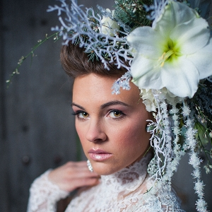Bride with Opulent and Oversized Floral Headpiece