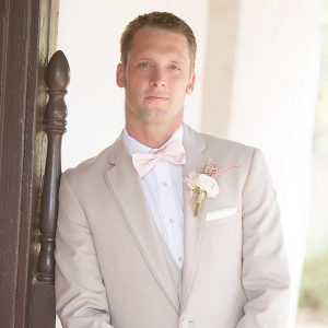 Khaki And Blush Groom's Attire