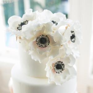 White Anemone Topped Wedding Cake