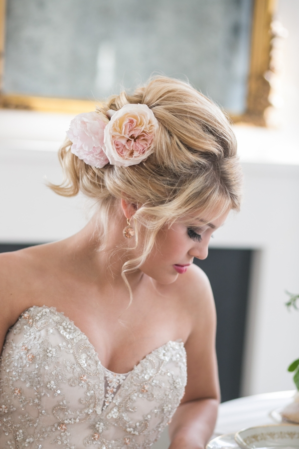 Elegant Bridal Hairstyle with Ranunculus