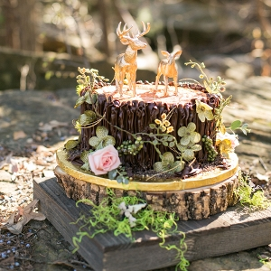 Rustic Wedding Cake with Golden Deer Cake Toppers