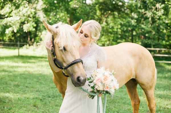 Bride Wearing Maggie Sottero Dress with Her Horse