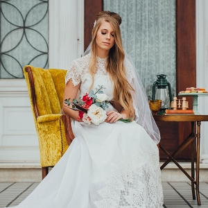 Bride in Vintage Lace Dress with Vintage Details