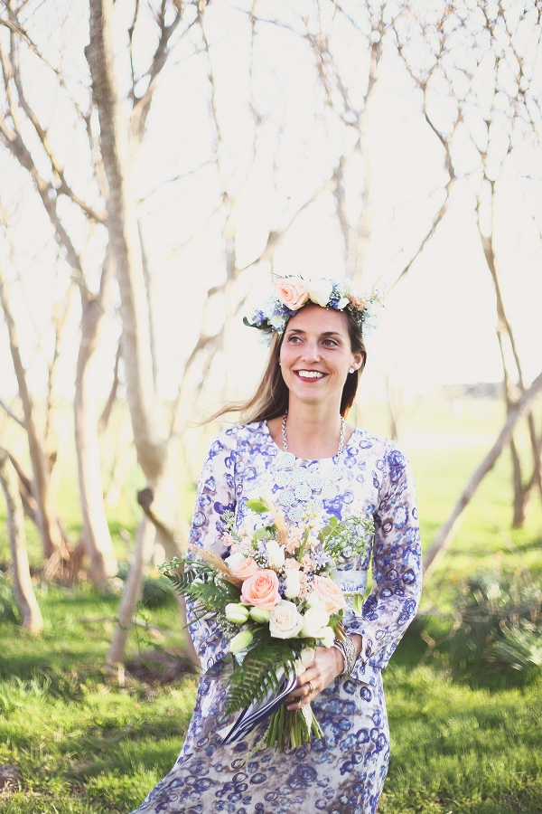 Bride Wearing Boho Floral Print Dress