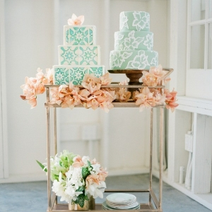 Two Blue and White Wedding Cakes