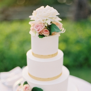 White Three Layer Wedding Cake