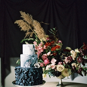 Black and Grey Ruffled Wedding Cake