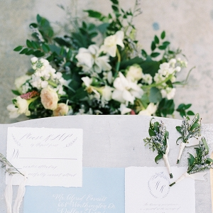 Calligraphy Wedding Stationery with Boutonnieres and Flowers