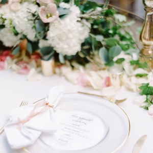 Pink and Gold Tablescape with Place Setting
