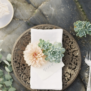 Place Setting With Calligraphy Place Card and Flowers