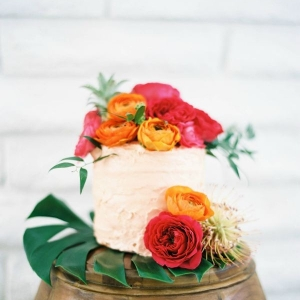 Tropical Wedding Cake With Colorful Flowers