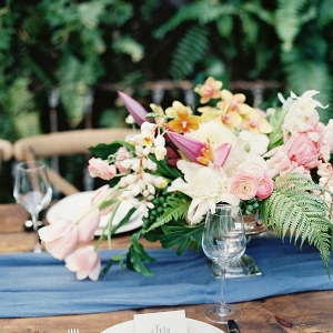 Floral Centerpiece and Place Setting on a Table