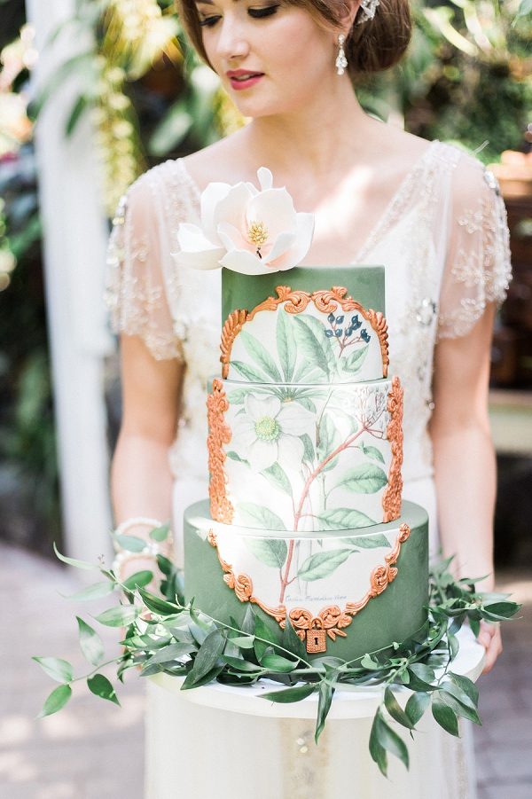 Green, Gold and White Wedding Cake