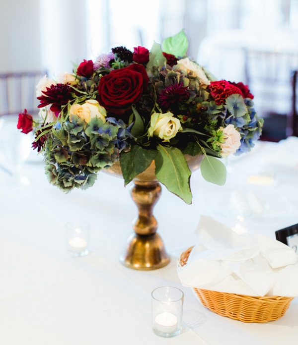 Deep Red Wedding Centerpiece