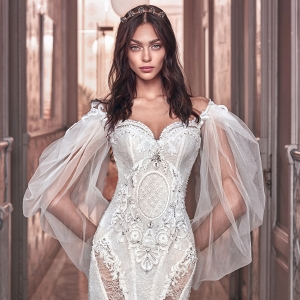 Off the shoulder wedding dress on Belle the Magazine