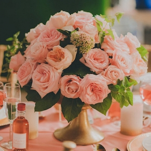 Pink Roses Centerpiece