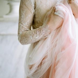 Cherry Williams London pink hue wedding dress with lace and tulle