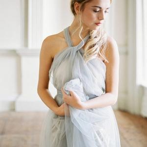 Beautiful blue grey wedding dress by Cherry Williams London