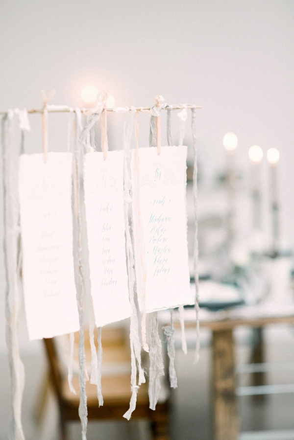 Hanging Table Plan with Silk Ribbons