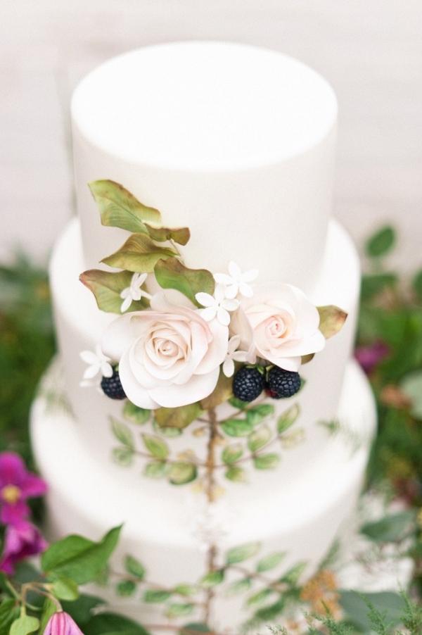 Botanical Inspired Handpainted Wedding Cake with Sugar Flowers and Berries