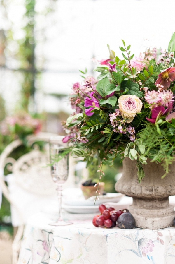 Organic Berry and Blush Centrepiece in Rustic Urn