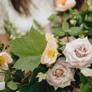 wedding bouquet with roses and foraged greenery