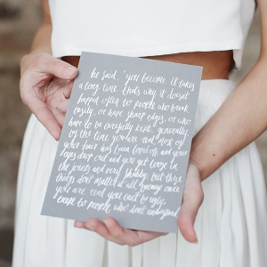Elegant White Calligraphy on Grey