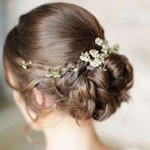 Rustic Elegant Braided Updo with Blossom Flowers