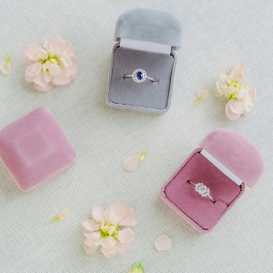 Vintage Inspired Diamond Engagement Rings in Velvet Ring Boxes