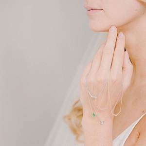 Delicate Diamond and Emerald Bridal Necklaces