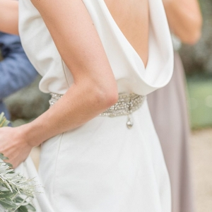 cowl back wedding dress with silver belt