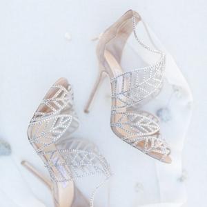 silver grey Jimmy Choo wedding shoes
