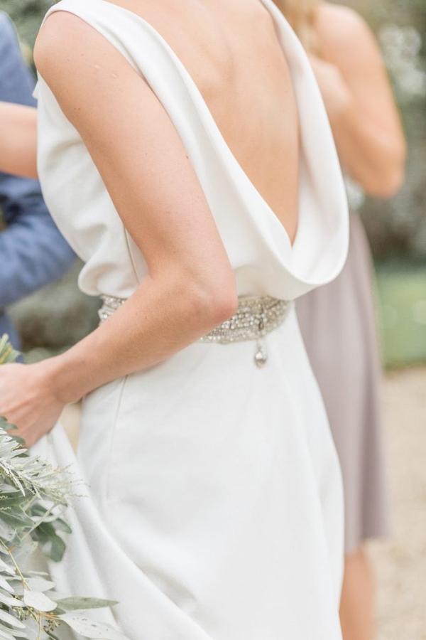 cowl back wedding dress with silver belt