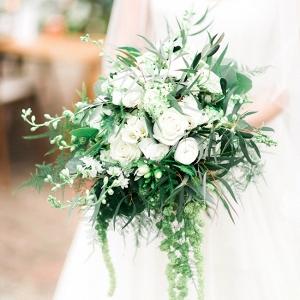 Lush Organic White & Green Wedding Bouquet with Trailing Amaranthus