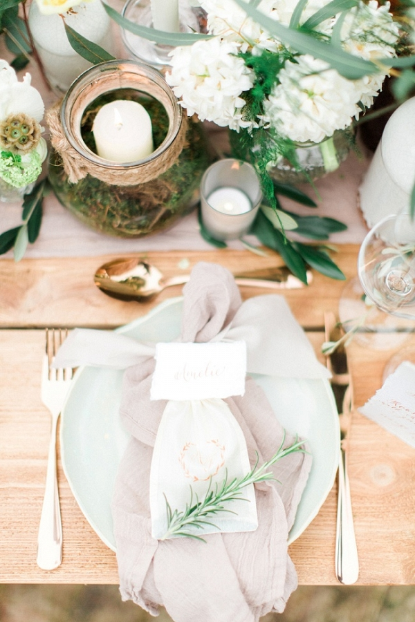 Luxury Organic Place Setting with Calligraphy Place Card and Gold Flatware