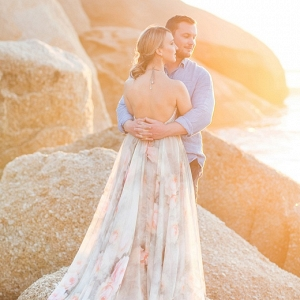 Romantic Sunset Couple Shoot with a Handpainted Floral Dress